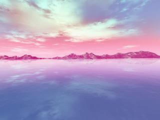 обои Каменистая гряда в океане иной планеты фото