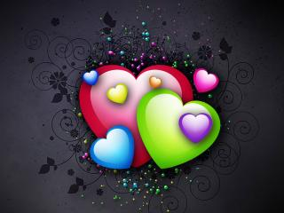 обои Colorful hearts фото