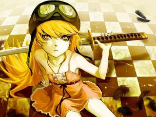обои Bakemonogatari - девочка с катаной фото