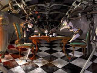 обои Black Rock Shooter - Девушки за столом фото