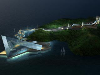 обои Здание на краю острова фото