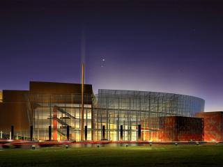 обои Ночь и свет огромного здания фото