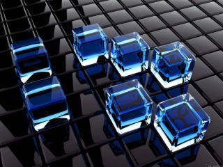 обои Несколько кубиков льда на темной поверхности фото
