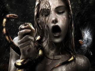 обои Девушка с яблоком и змеей фото