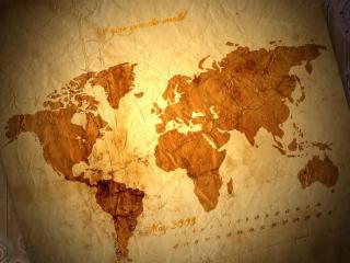 обои Помятая карта мира фото