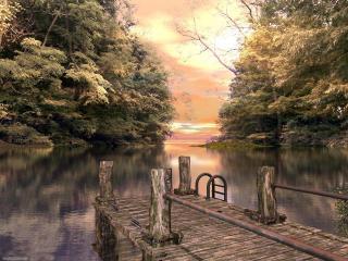 обои Озеро,   причал,   деревья фото