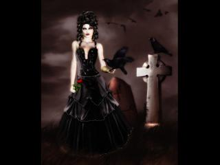 обои Женщина с воронами на могиле фото