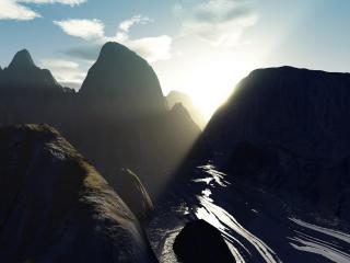 обои Восход над черной горной рекой фото