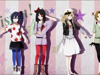 обои K-On! - 5 девушек с клубничкой на полосатом фоне фото