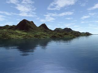 обои Гористое побережье,   покрытое мхом фото