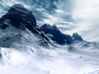 обои Безмолвные заснеженные горы в ясную погоду фото