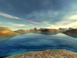 обои Залив в горячих холмах фото