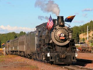 обои Grand Canyon Railroad,   Steam Engine #4960,   Williams Depot,   Williams,   Arizona фото