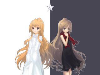 обои ToraDora - Черная и белая Тайга фото