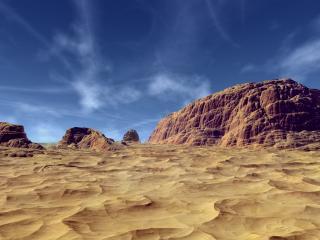 обои для рабочего стола: Песчаные горы на фоне ясного неба