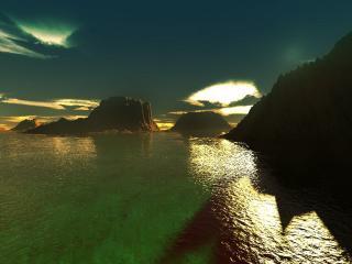 обои для рабочего стола: Безмятежный океан с зеленоватым отливом на закате