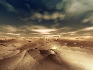 обои для рабочего стола: Бескрайняя пустыня,   уходящая за горизонт