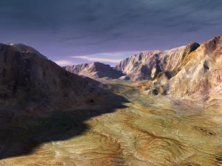 обои для рабочего стола: Низкое небо над горами из застывшей лавы