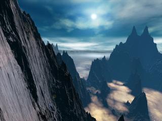 обои для рабочего стола: Остроконечные пики туманных гор