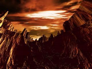 обои для рабочего стола: Низкое небо над мрачными горами