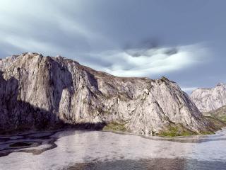 обои для рабочего стола: Серые скалы на побережье