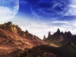 обои для рабочего стола: Планета и скалы
