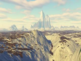 обои для рабочего стола: Снежный горный пик на горизонте