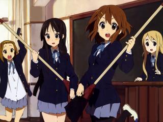 обои K-On! - Девушки убираются в классе фото