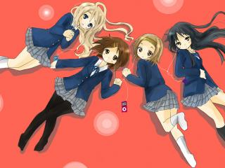 обои K-On! - Четыре девушки с плеерами фото