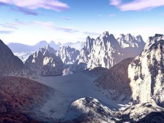 обои Тропа среди заснеженных гор фото