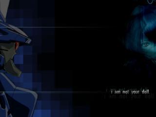 обои Evangelion - Рей и Ева в разных краях экрана фото