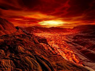 обои Река багряной расплавленной лавы фото