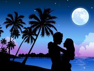 обои Влюбленная пара на берегу под пальмами фото