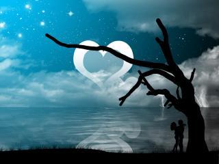 обои Влюбленные под луной-сердцем фото
