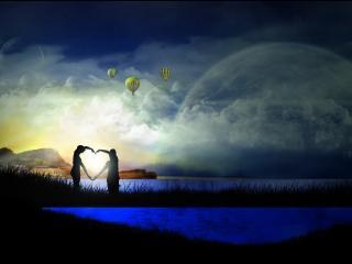 обои Сердце любви влюбленной пары фото