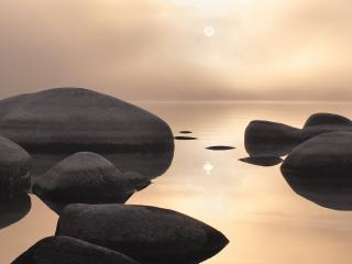 обои Каменные глыбы в озере фото