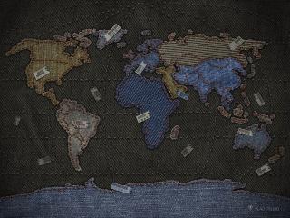 обои Джинсовая карта мира фото
