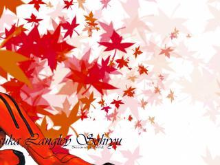 обои Evangelion - Аска на фоне красных листьев фото