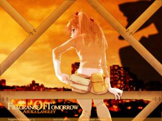 обои Evangelion - Аска на трубе на фоне города фото