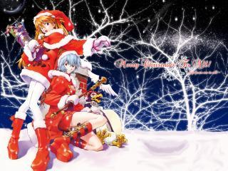 обои Evangelion - Новогодние Аска,   Рей и Пен-Пен на крыше фото