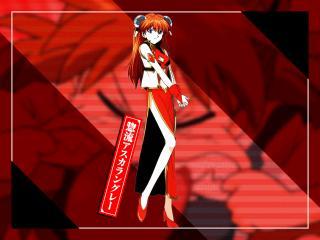 обои Evangelion - Аска на красном фоне фото