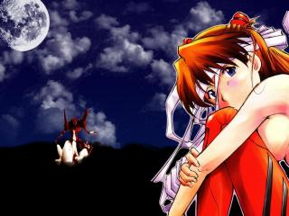 обои Evangelion - Сидящая Аска на фоне неба с луной фото
