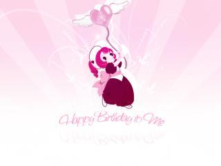 обои Чобиты - Девочка с воздушным шариком на розовом фоне фото