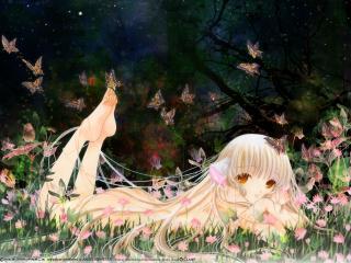 обои Чобиты - Чии в траве среди бабочек фото