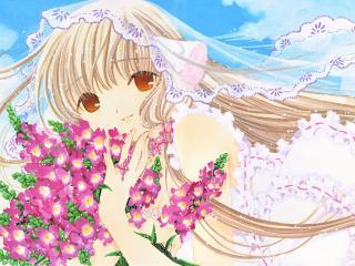 обои Чобиты - Чии с цветочками на фоне неба фото