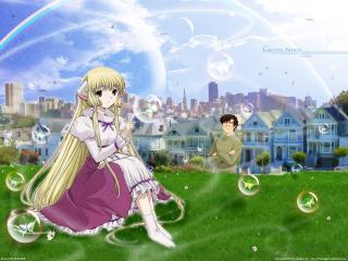 обои Чобиты - Чии и мыльные пузыри на фоне города фото