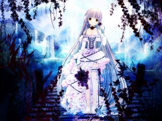 обои Чобиты - Чии в платье с цветами на деревянном мосту фото