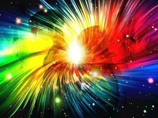 обои Код Гиас - Лелуш и C.C. на разноцветном фоне фото