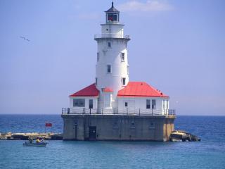 обои Chicago Harbor Light,   Lighthouse,   Illinois фото