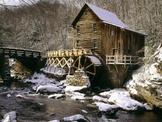 обои Glade Creek Grist Mill in Winter,   Babcock State Park,   West Virginia фото